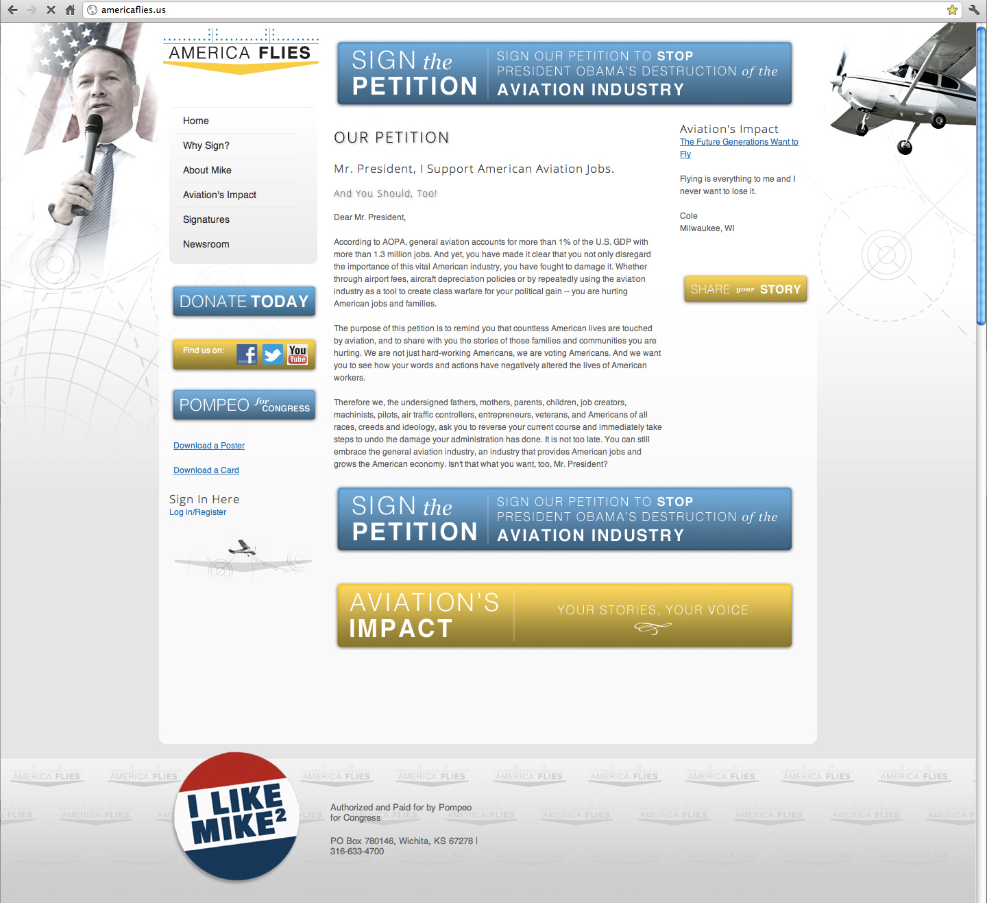 America Flies Homepage Design