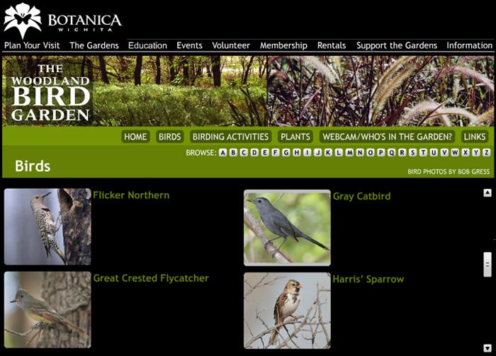 Botanica Wichita - Woodland Bird Garden Page