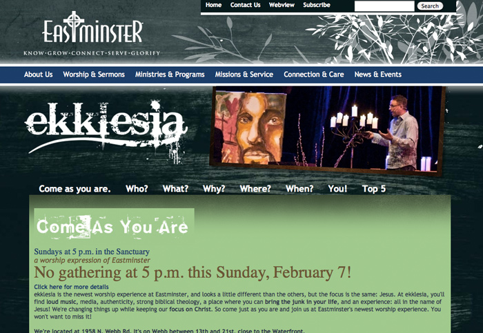 Ekklesia website design by Barrett Morgan Design LLC