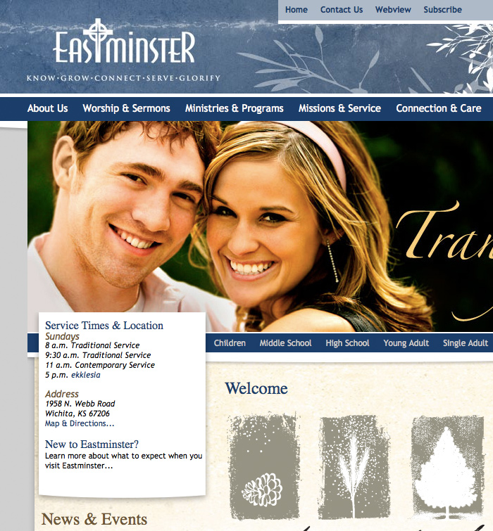 Eastminster Homepage Design