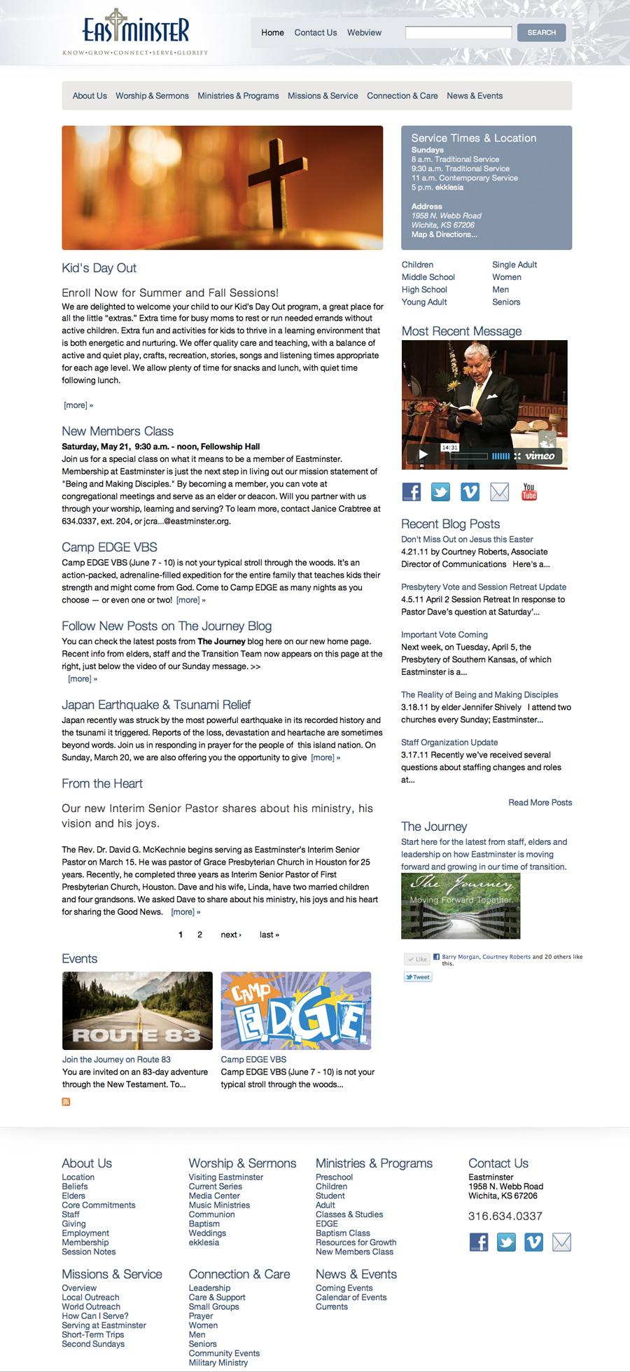 Eastminster's full redesigned website photo