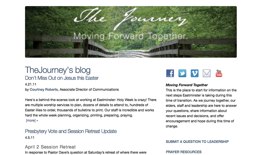 Barrett encouraged Eastminster to start the Journey Blog transition updates