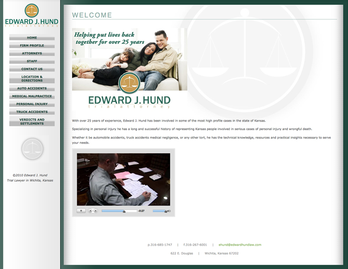 Web Development for Migration of Ed Hund Law website