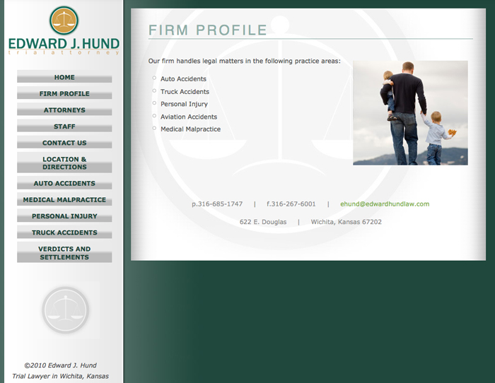 Web design and for Ed Hund Law