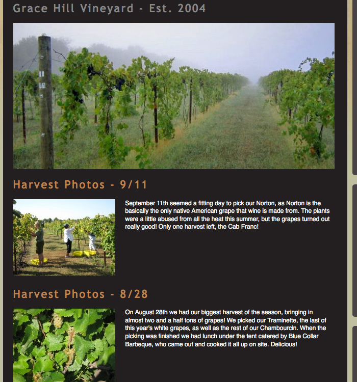 Photo Gallery at Grace Hill Winery © Barrett Morgan Design LLC