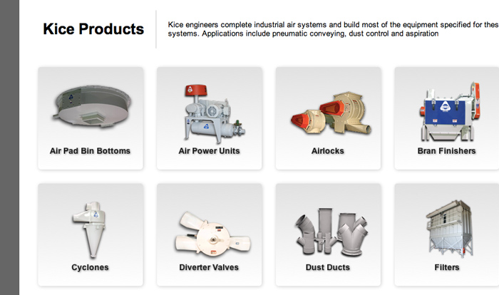 Products grid for Kice Industries