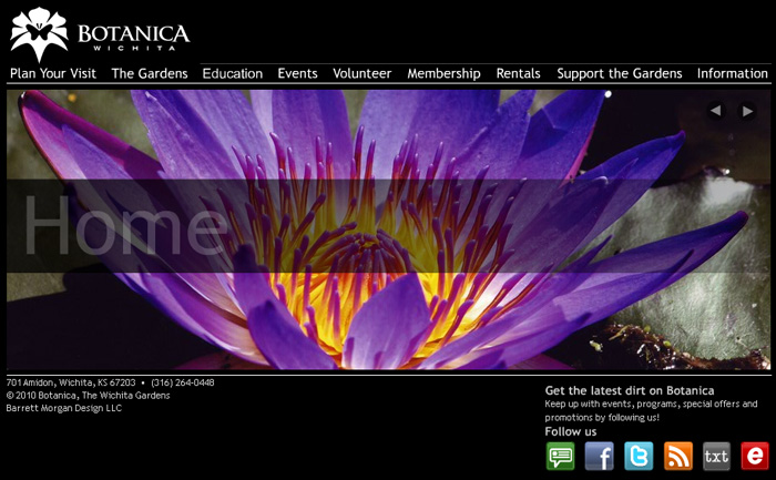 Botanica Wichita Website - Homepage