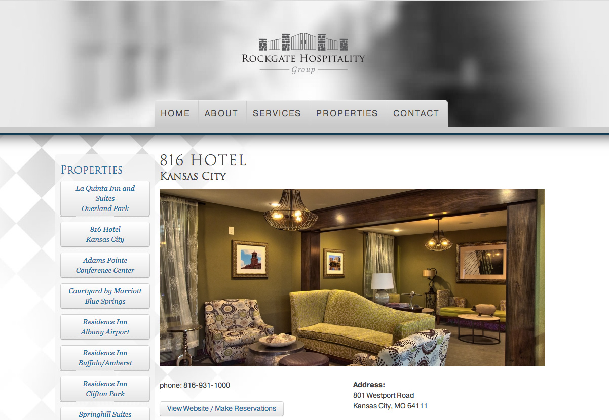 Rockgate Hospitality Groups Website Layout