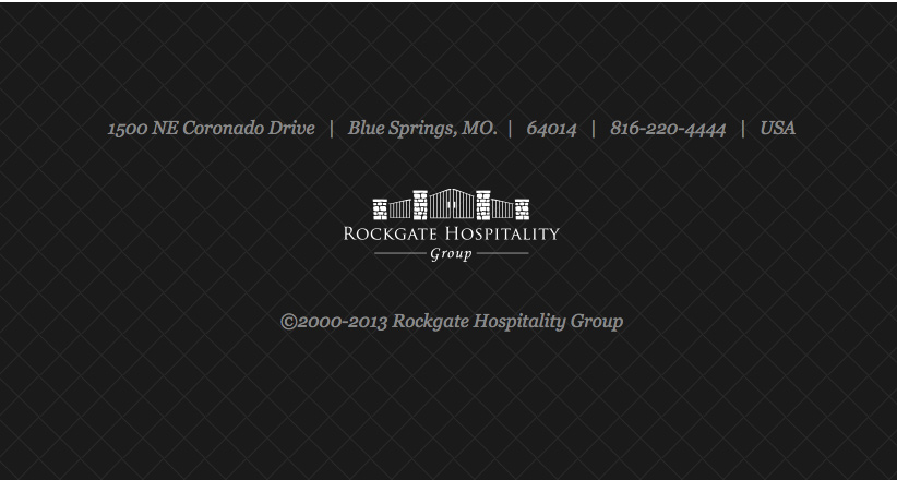 Rockgate Hospitality Groups Website Footer