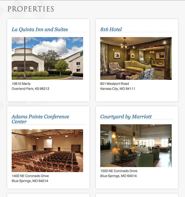 Rockgate Hospitality Groups Website Layout Property Grid