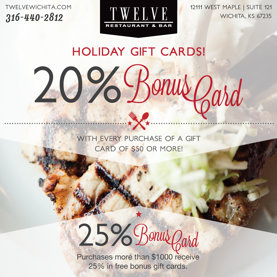 Twelve Restaurant Bonus Card Design