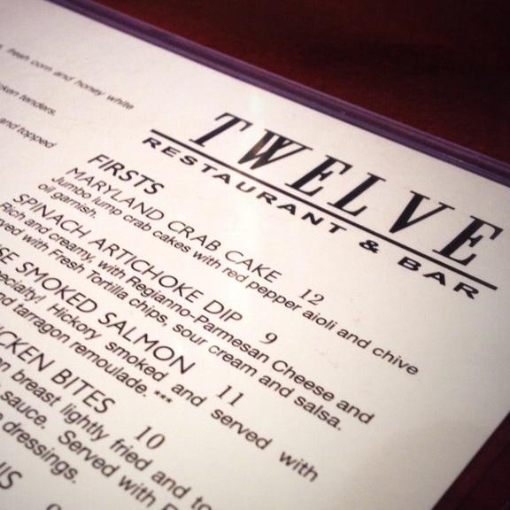Twelve Restaurant Print Menu