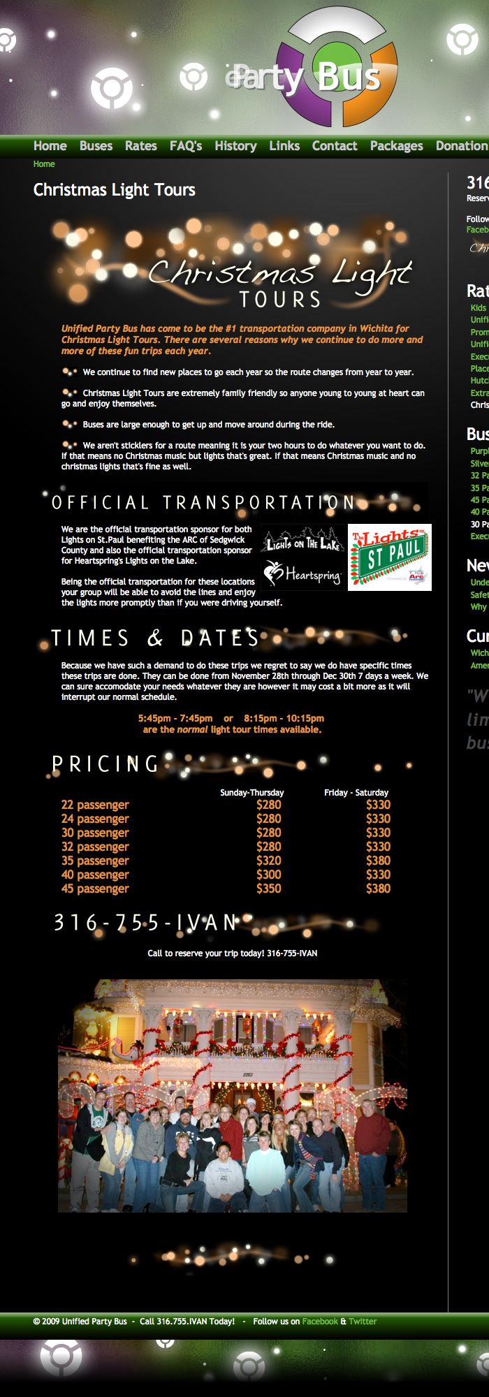 Unified Party Bus - Christmas Light Tour Webpage