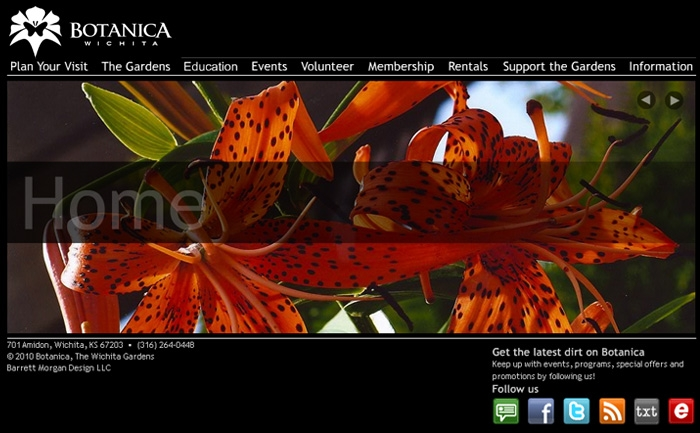 Botanica Wichita - Website Design Flash Homepage