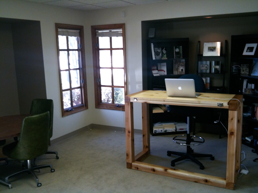 Standing desk in the office at Barrett Morgan Design LLC
