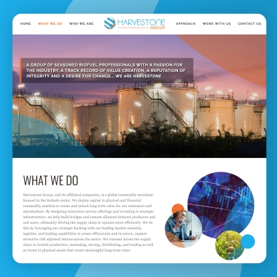 Harvestone Group LLC Homepage website design